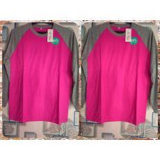 SYF-Shop Kaos Reglan Lengan Panjang Pink Fanta Lengan Abu-Abu Pria Dan Wanita