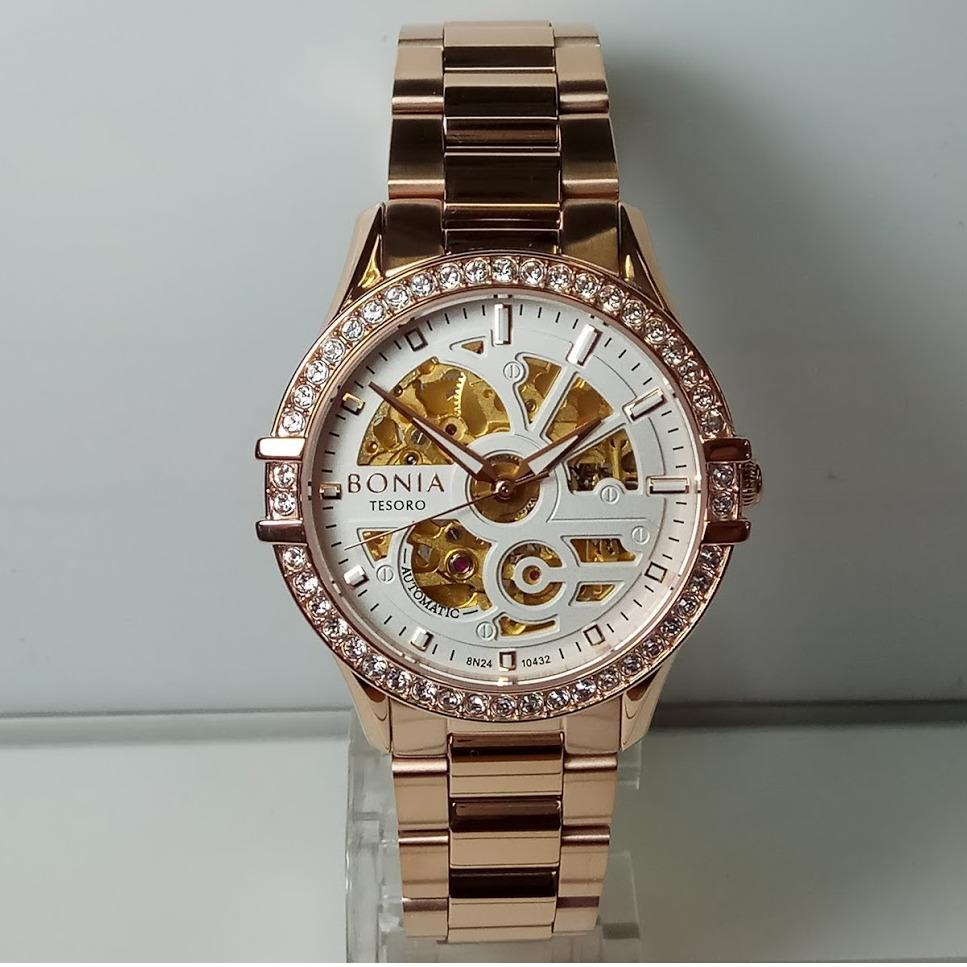Bonia Bn10317rc Jam Tangan Wanita Stainless Steel Rose Gold Coklat Bn10199 2557 Bnb10432 2512s Tesoro Sapphire Automatic