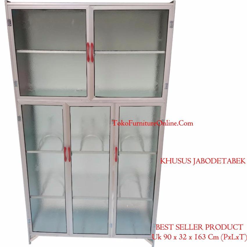 Rak Lemari Piring Dapur Alumunium Full Box Kaca 3 Pintu