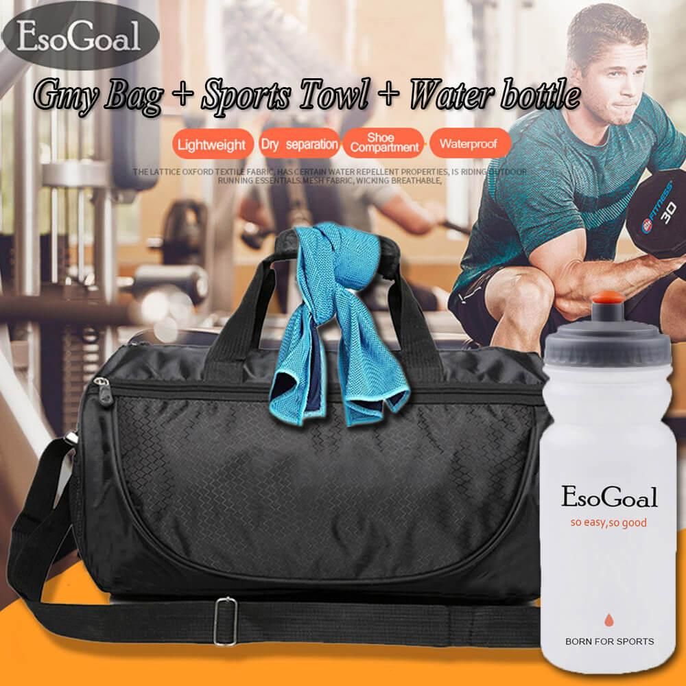 EsoGoal Gym Bag and Cooling Towel with Water Bottle,Duffle Bag Including Shoes Compartment,