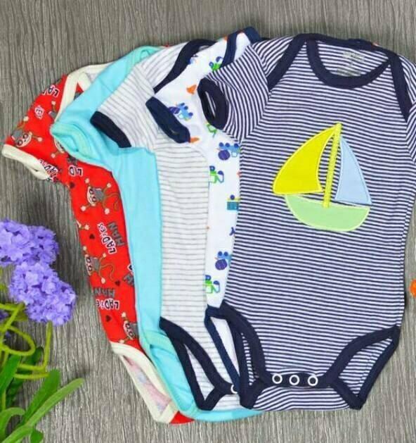 baju bayi jumper cowok lengan pendek 1 pak isi 5 pcs