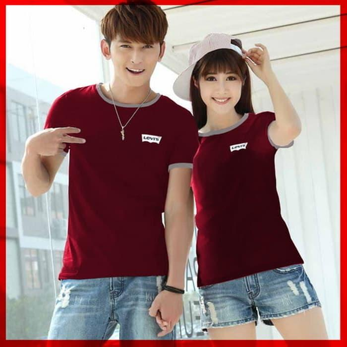 Bayar Di Tempat / [Cp Tshirt Levis Cl] Baju Couple Combet Maroon