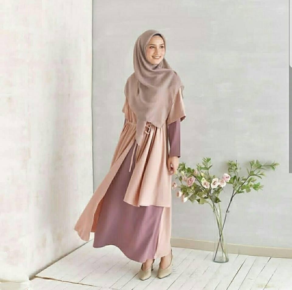 Harga Dsjt1170922208031 Dress Merah Biru Import Termurah Honeyclothing Baju Tika Longdress Terbaru Maxi Muslimah