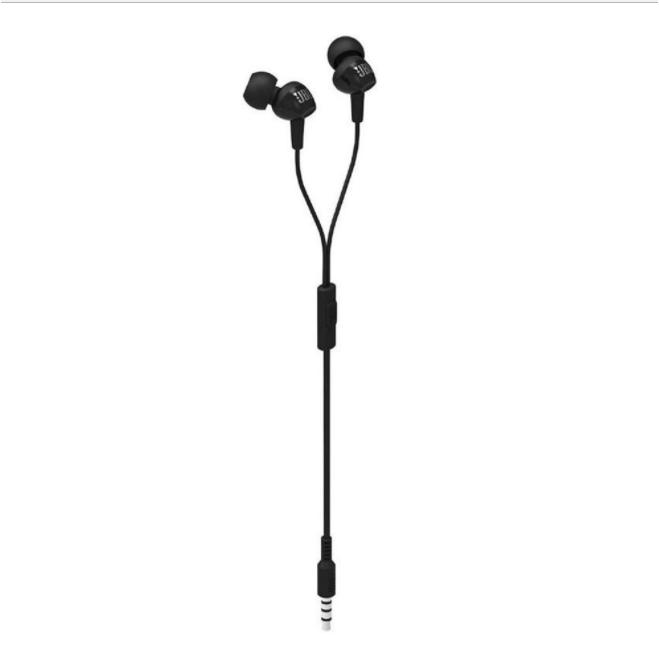 JBL C100SI In-Ear Headphones With Mic - Compatible With Android & IOS - Hitam BY HARMAN KARDON RESMI IMS