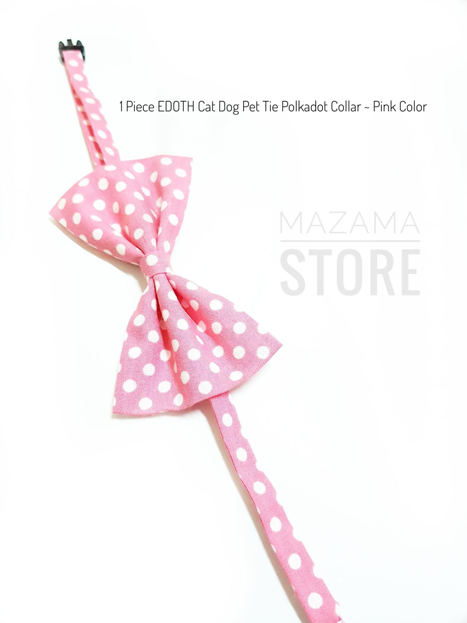 1 Piece EDOTH Cat Dog Pet Tie Polkadot Collar ~ Pink Color / Tie Pet Collar