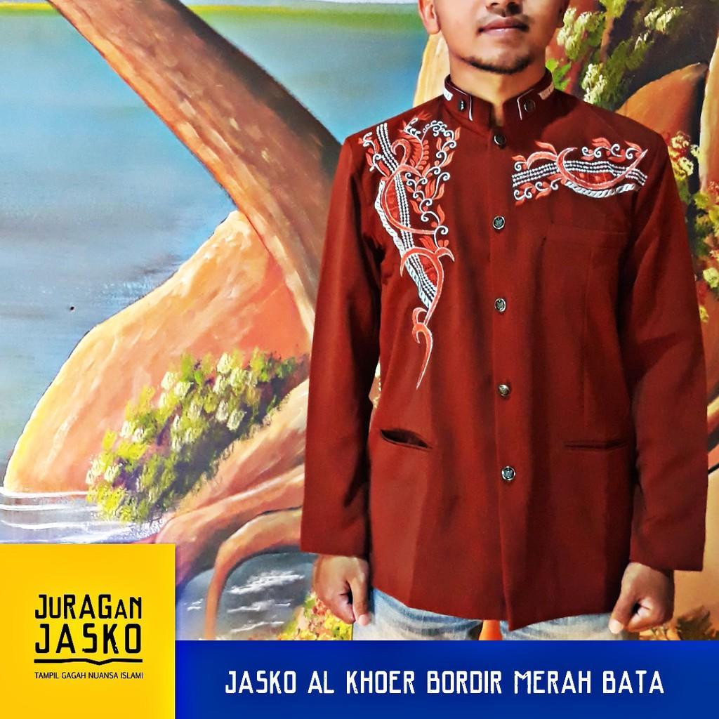 Jasko Merah Bata Bordir Terbaru Alkhoer BEST SELLER (L)