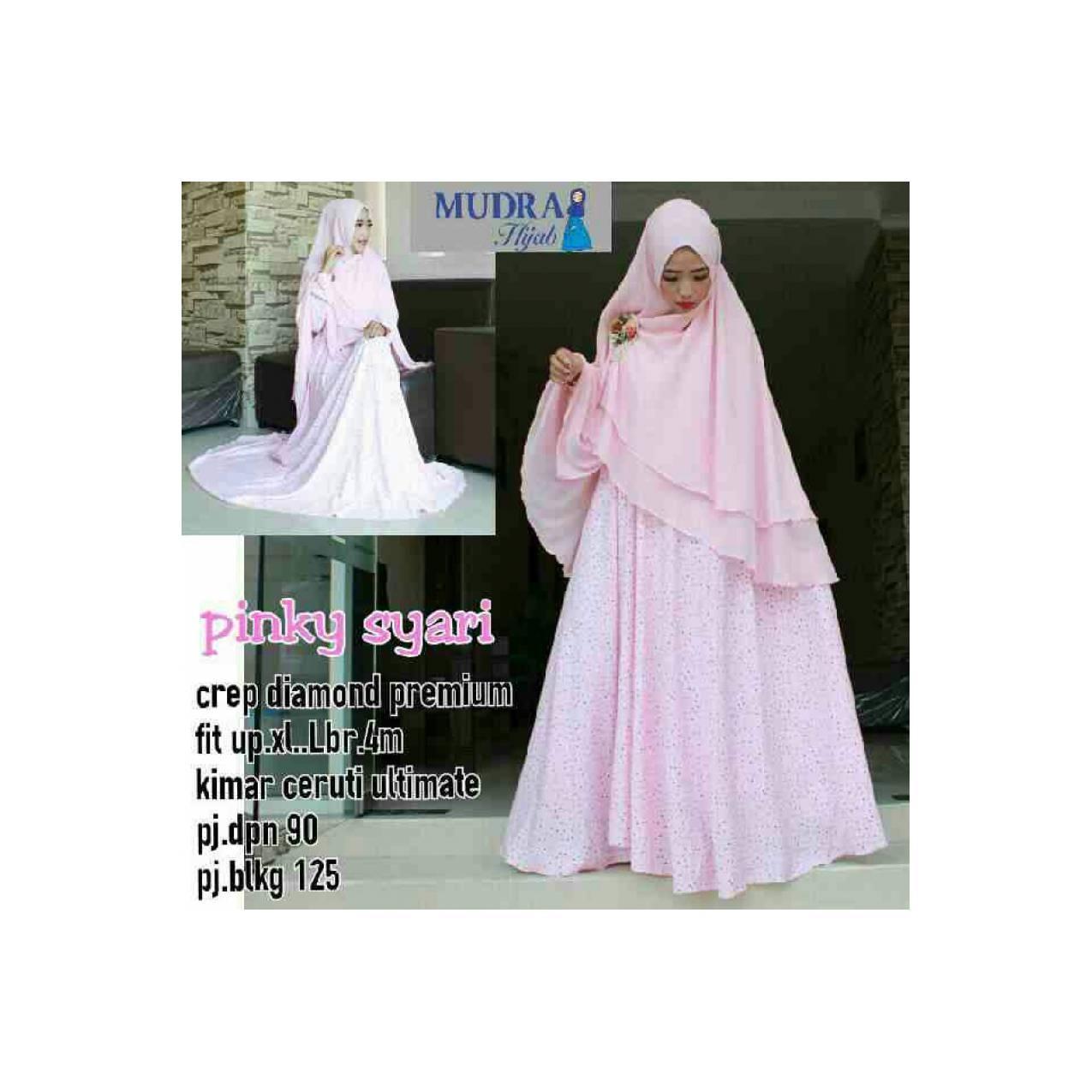 pinky syari ori mudra / set gamis pink