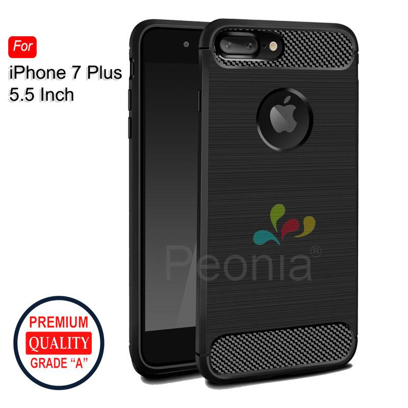 Peonia Carbon Shockproof Hybrid Premium Quality Grade A Case for Iphone 7 Plus 5.5 Inch - Hitam