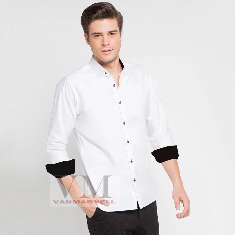 VM Kemeja Casual New Kombinasi Putih Hitam - Long Shirt