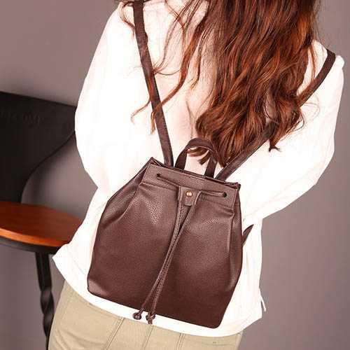 tas punggung ransel fashion wanita backpack kulit tali serut bta332