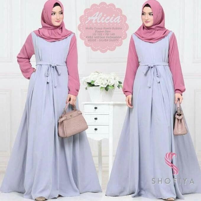 Baju Original Gamis Alicia Dress + Pasmina Baju Panjang Casual Wanita Hijab Baju Modern Trendy Warna Grey-Pink