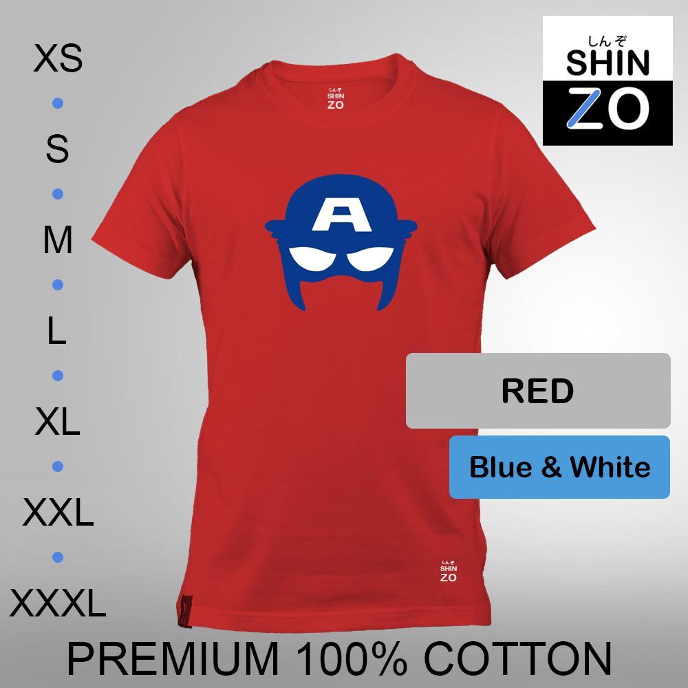 Shinzo Design - Kaos Oblong Distro T Shirt Tee Casual Fashion Atasan Cloth Anime Custom - Premium Cotton Combed 30s Ring Spun Export Quality - Pria - The Avengers Infinity War Captain America Civil War - Red Merah