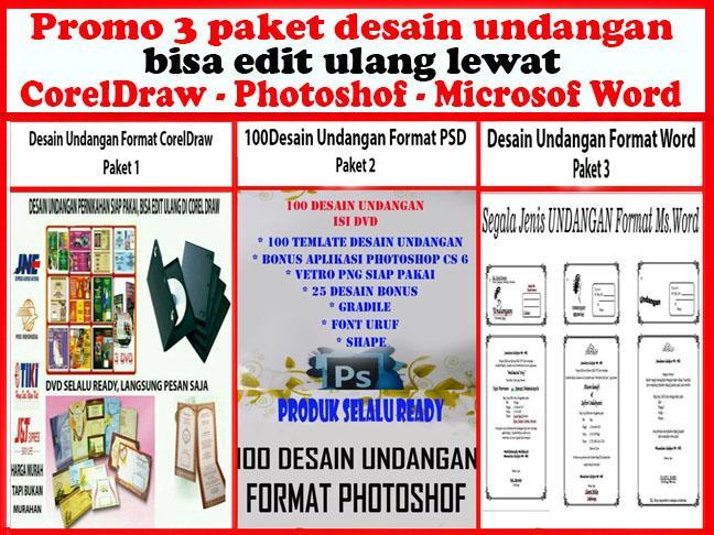 Promo 3 Paket Desain Undangan Bisa Edite Ulang - CorelDraw - Photoshof - MS Word