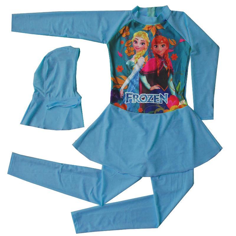 Baju Renang Anak Muslim Karakter Frozen (Terusan) Size SD