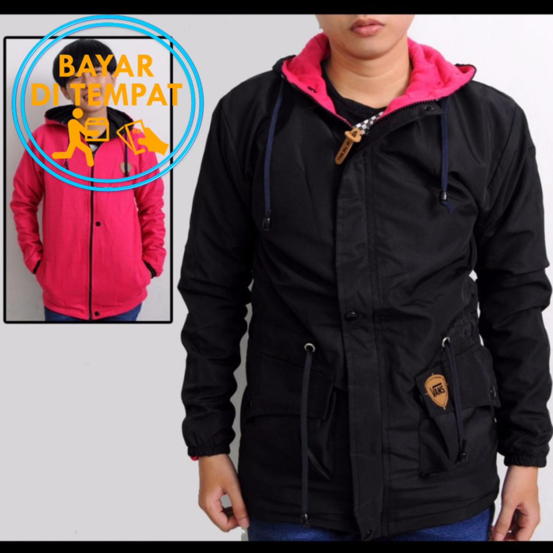 Jaket Parka Pria Wanita Waterproof Terlaris Baru  Brand Original Blessher Murah Bolak Balik Black Pink Best Seller
