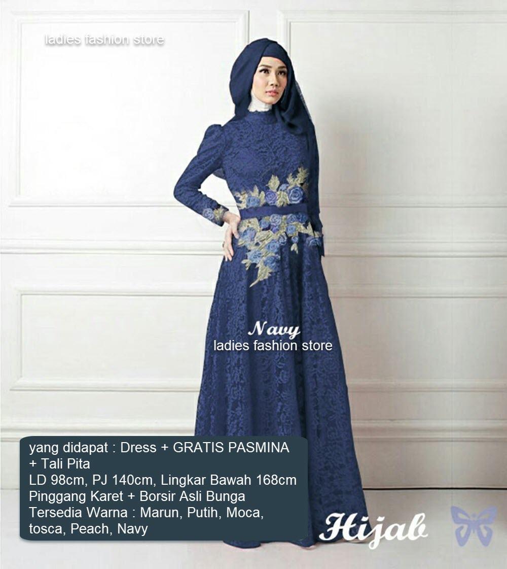 Dress Pesta Muslim Wanita GRATIS PASMINA / Pesta Brukat / Gaun Gamis Modern / Pakaian Syari / Gamis Pesta Model Baru / Gaun Brukat / Gaun Muslimah Remaja Murah / Setelan Gamis Terbaru / Baju Syar'i Baru(salindaro) SS MARUN PUTIH MOCA TOSCA PEACH NAVY