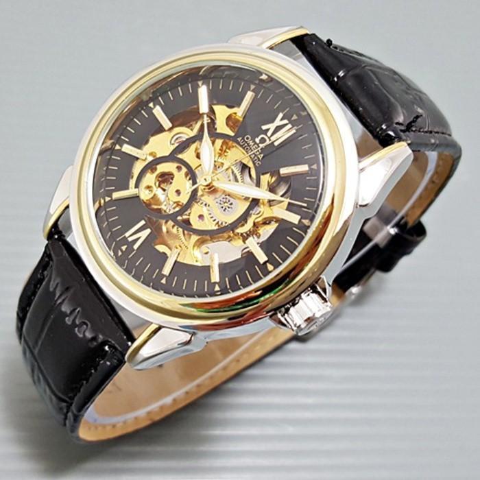 Jam Tangan Pria / Cowok Rolex Skeleton Kulit Murah Automatic - 0Dvs4i