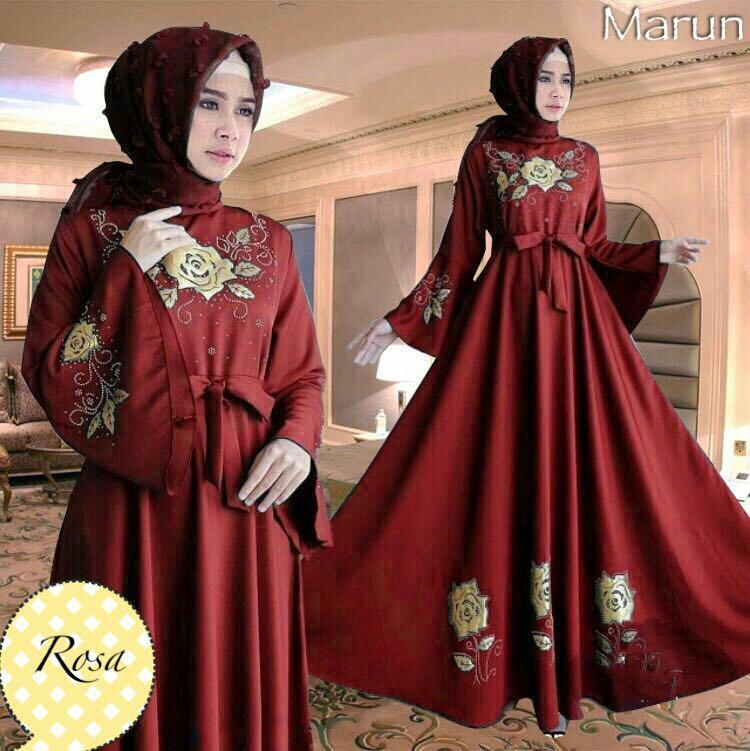 Gamis Rosa Maxi Dress Syari Balotelli HQ - Maroon