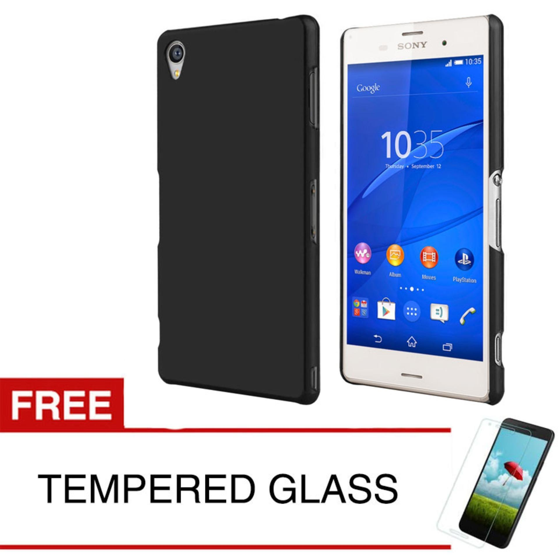 Case Slim Black Matte Sony Xperia Z3 - Black Doff - Free Tempered Glass