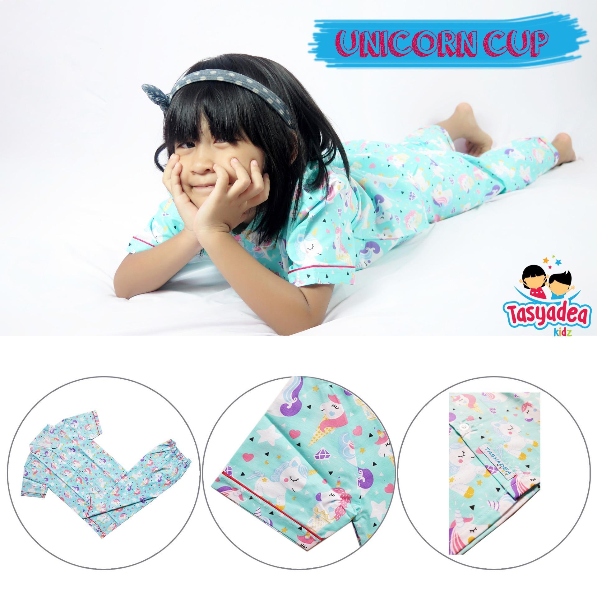 Piyama Anak baju tidur anak laki laki perempuan motif Little Pony unicorn cup