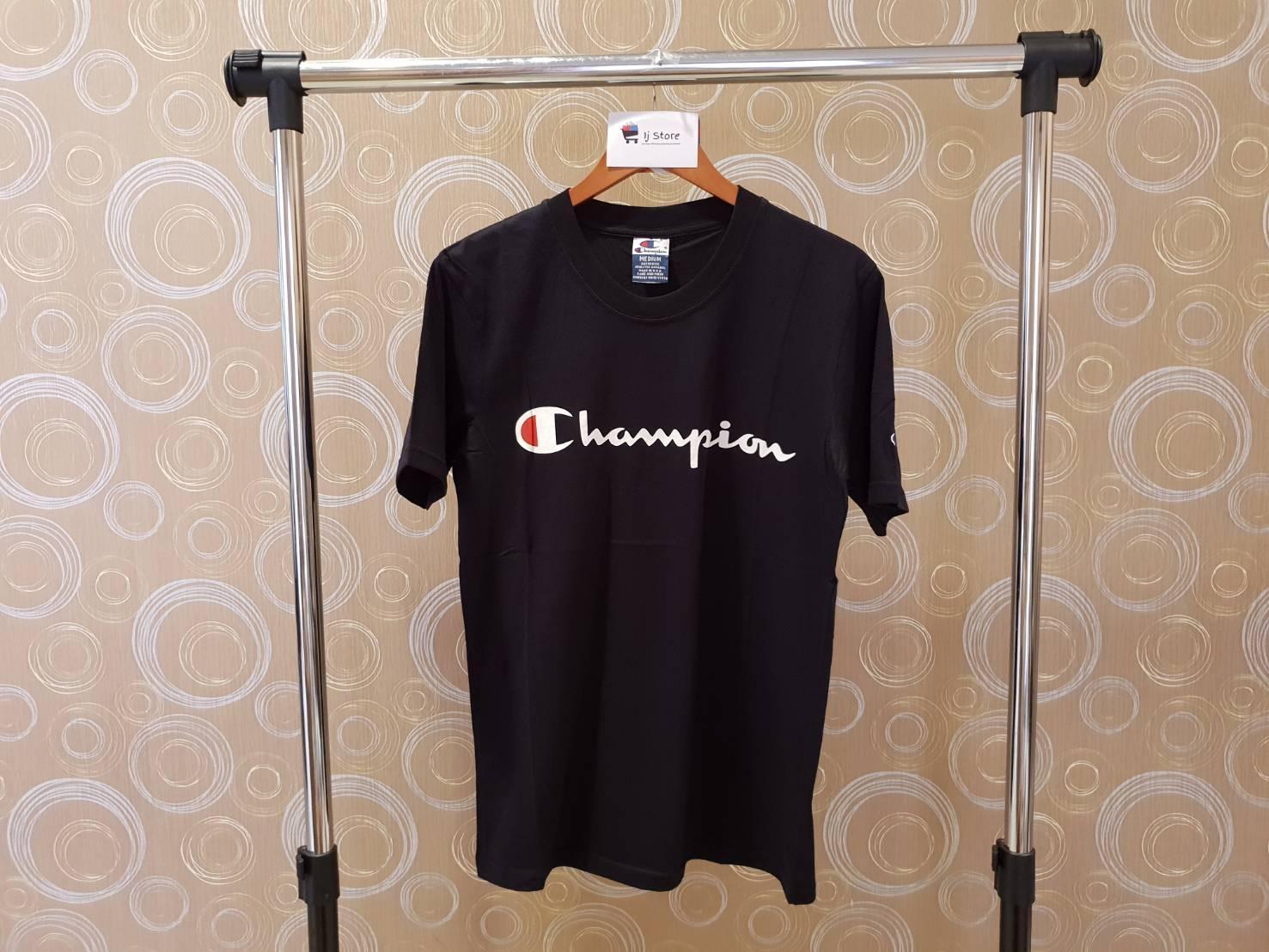 a74c1b681a4f Kaos champion logo import distro high quality hitam unisex