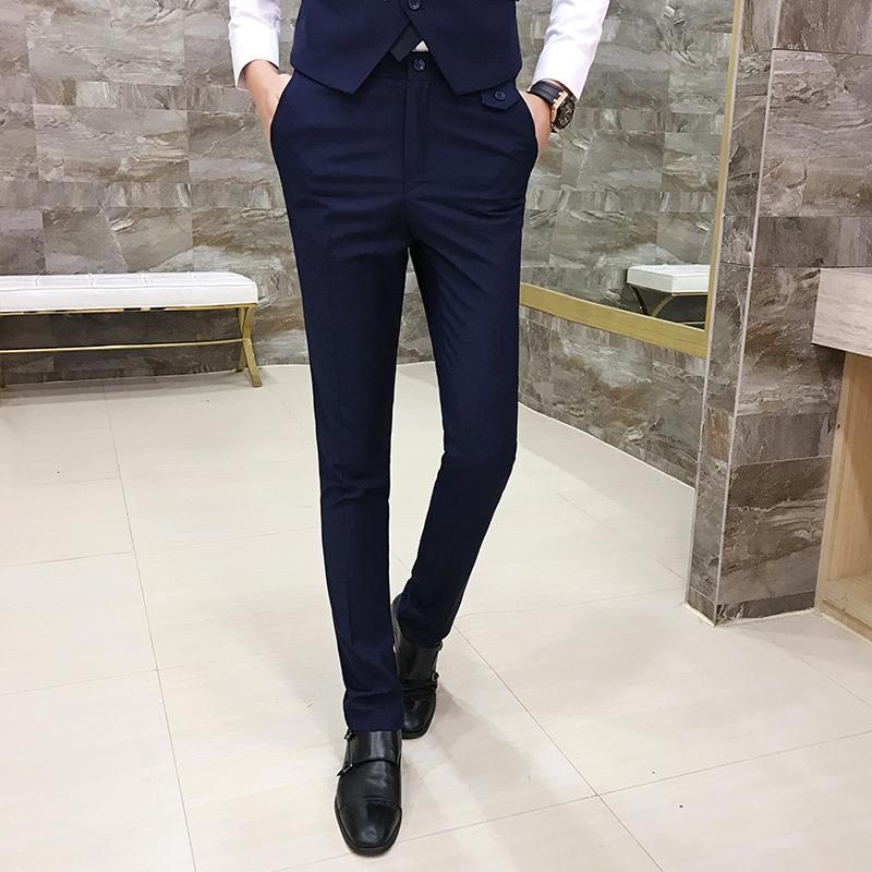 Utara Angin Cetakan Hip Hop Versi Santai Korea Bisnis Formal Kasual Celana Formal Slim Celana Celana Jas Setelan Pria Hitam