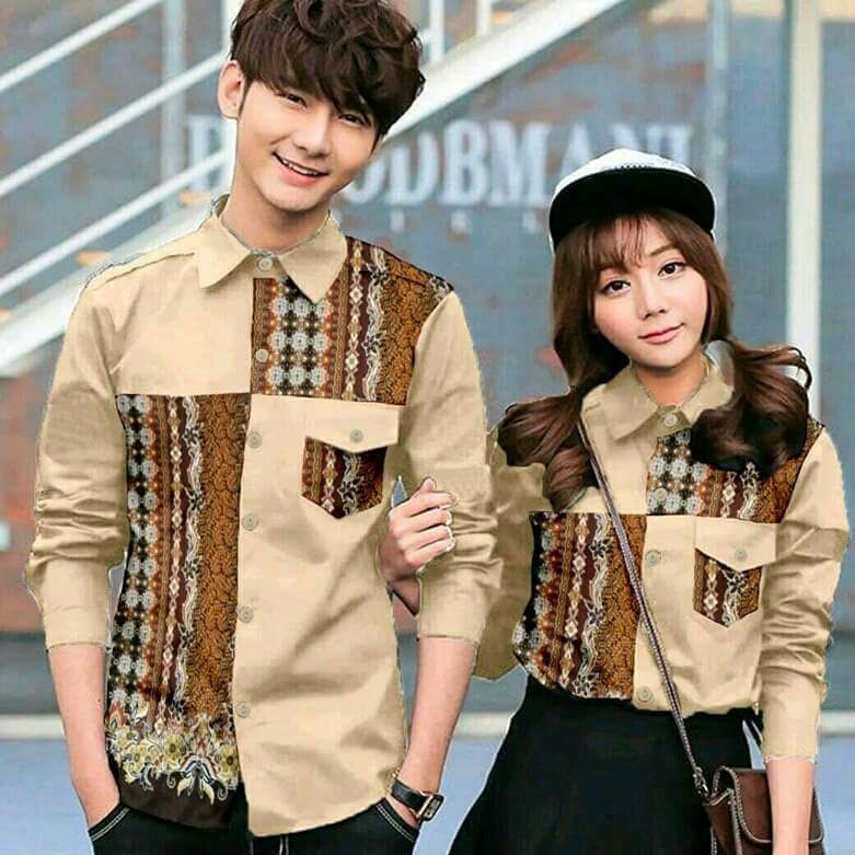 Tj-kemeja couple batik pockba coklat-harga murah-elegan fashion batik-kemeja couple batik lengan panjang