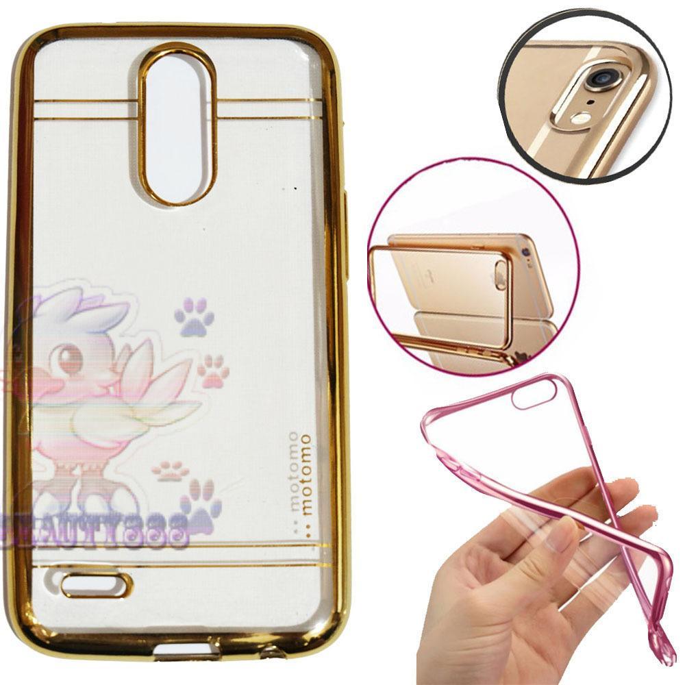 Motomo Chrome LG K10 2017 Shining Chrome / Case Shining List Chrome / Ultrahin LG K10 2017 List Chrome Jelly Case / Silicone Shinning / Case LG K10 2017 / Soft Case / Casing Handphone - Gold / Emas