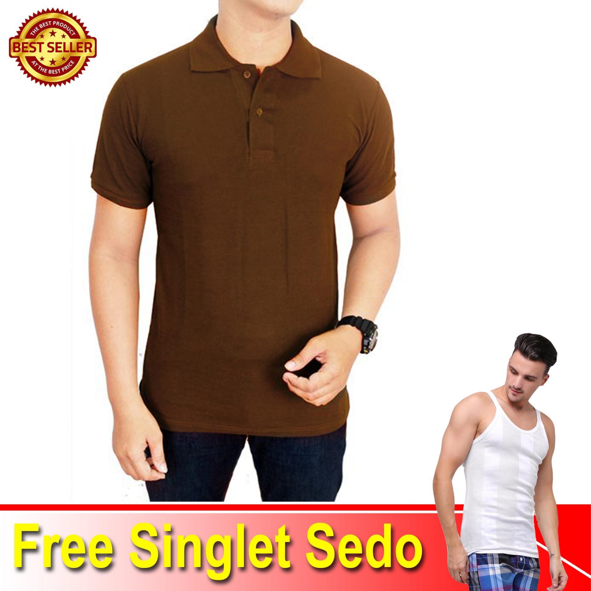 Baju Kaos Kerah Coklat Tua SJ66 Polo Lacoste Free 1 Singlet Sedo - Makario Maju