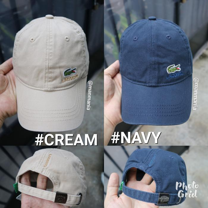 Terbaru!! Topi Lacoste Golf Baseball Snapback Cream Cewek Cowok - Cream - ready stock