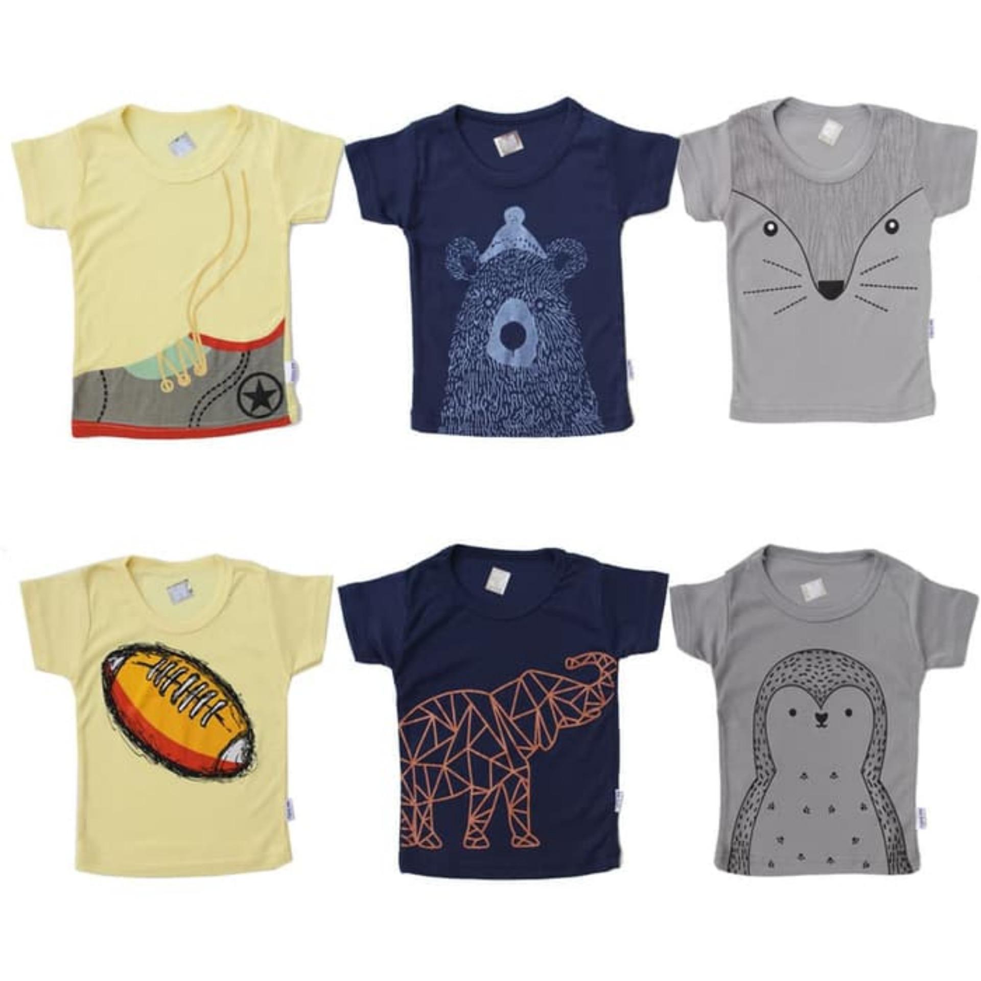 Kazel Tshirt Baby Boy - Kaos Anak Bayi - Penguin Edition - Isi 6 pcs -