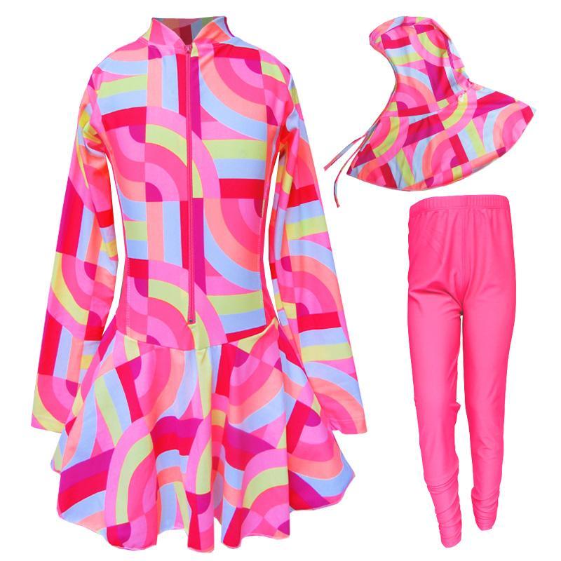 Baju Renang Anak Muslim Motif Gelombang Warna Size SD