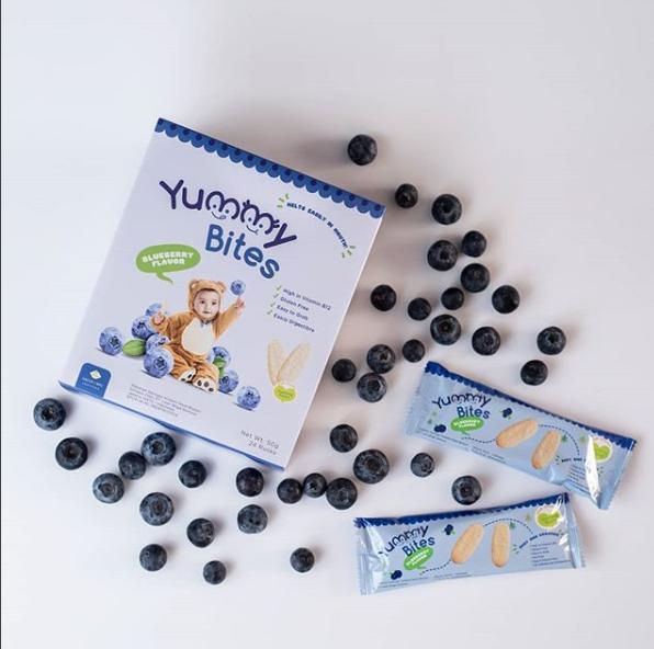 Arsyad Babyshop - Yummy Bites Biskuit Bayi Rasa Blueberry Kemasan 50 Gram - Makanan Pendamping Asi Dari Tepung Beras By Arsyad Babyshop.