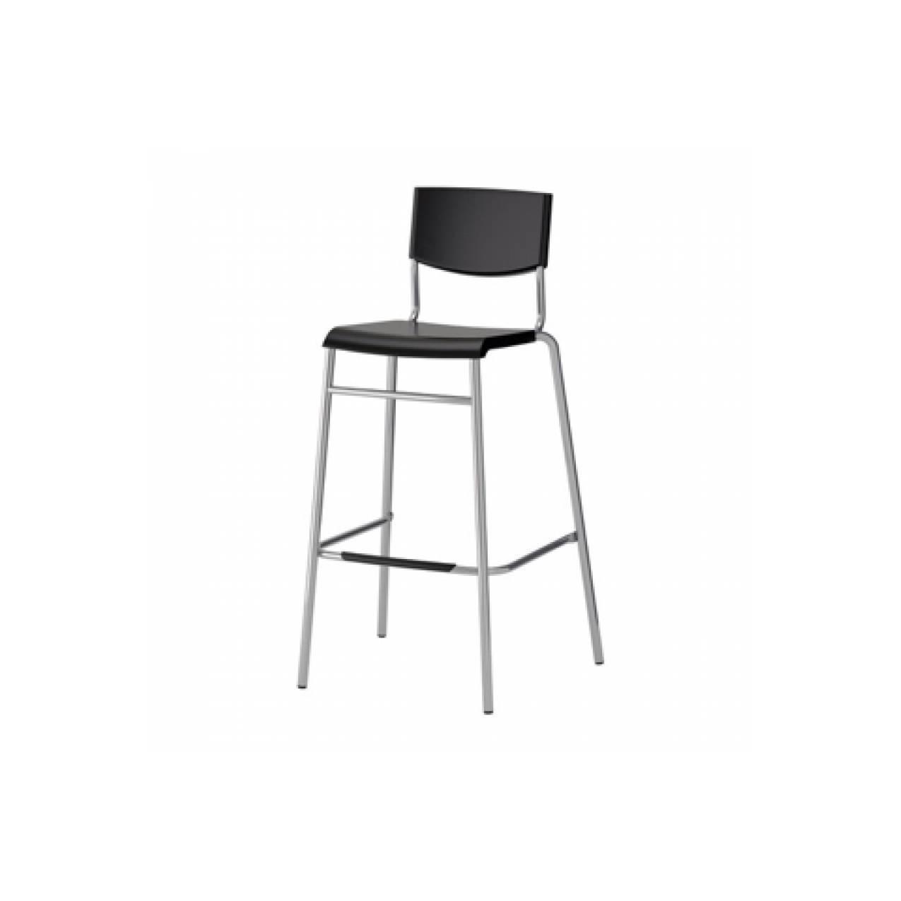 IKEA STIG Kursi Bar dengan Sandaran - Hitam, tinggi 74 cm