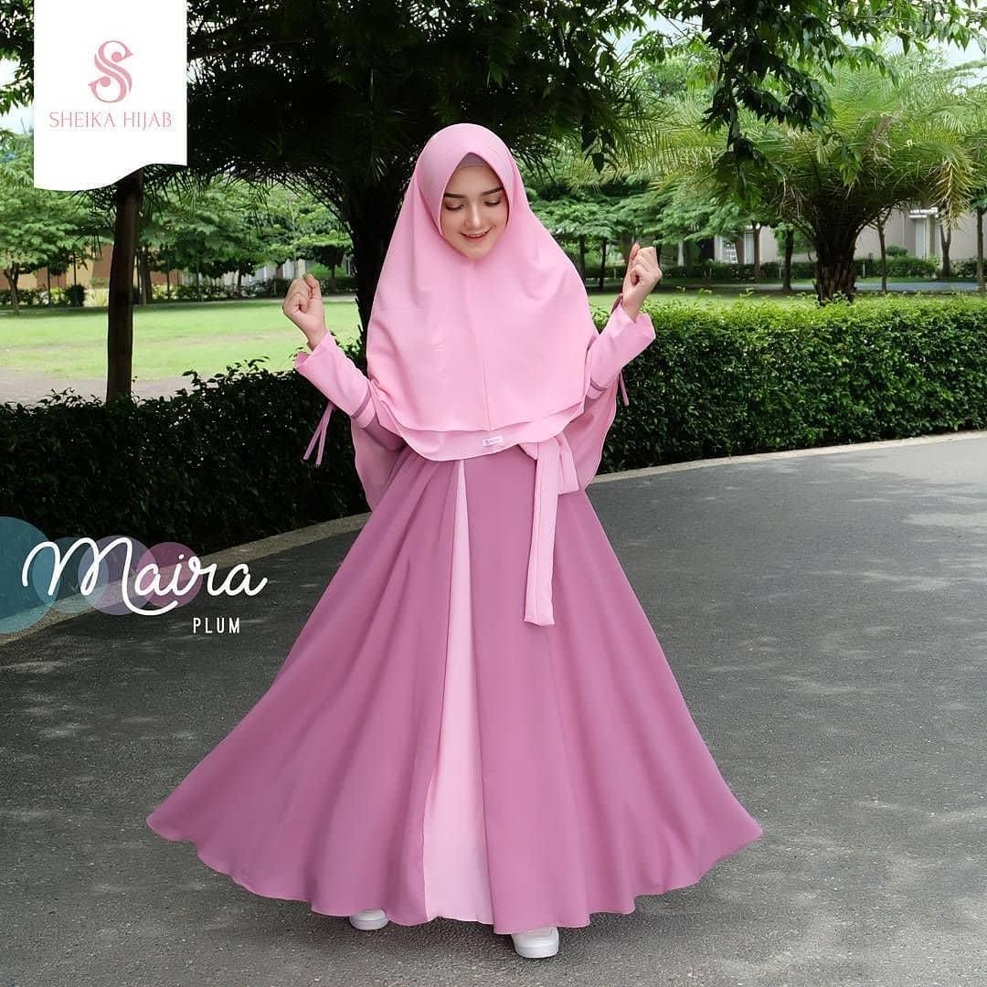 Baju Original Maira Syari + Khimar Wolfice  Gamis Panjang Wanita Muslim Pakaian Cewek Gaun Hijab LongDress Fashion Terbaru 2018