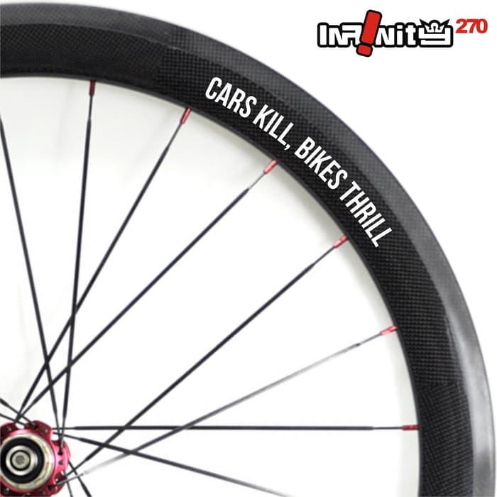 HOT PROMO!!! sticker sepeda rim wheel 700c teks cars kill bike thrill 4x/wWSQ-011 - it58LH
