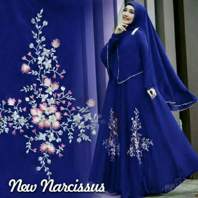 New Gamis Narcissus Syari Balotelli HQ + Bergo Renda Pikok (Maroon)