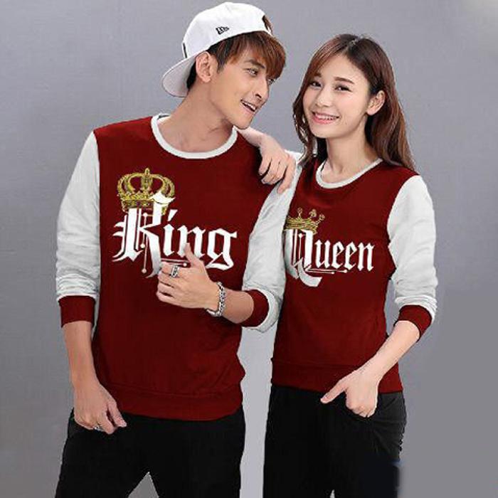 Baju Hoodie Couple Sweater Kaos Pasangan Kopel Kapel Kembar Murah LP King Queen