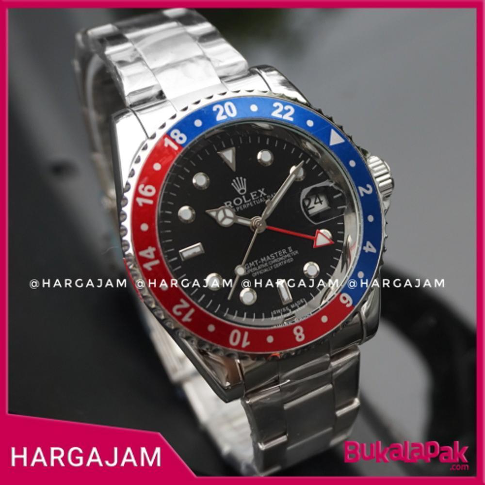 Jam Pria Automatic Rolex Matic GMT Perpetual Date - Rantai Silver (Hargajam Cowok Matic)