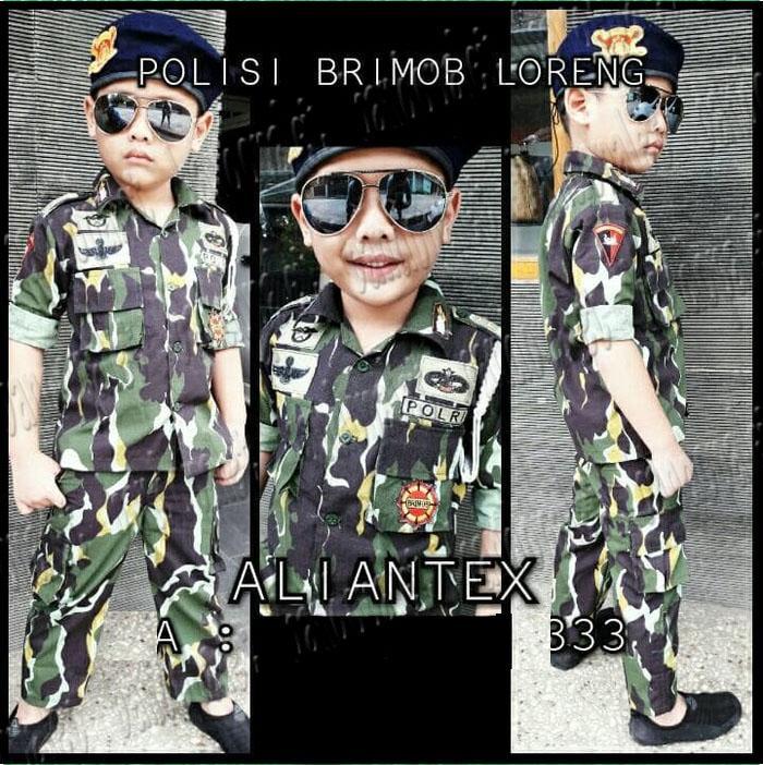 Baju Anak BRIMOB LORENG TNI TARUNA Akpol AD Angkatan Udara Darat Tentara Army Celana Peluit Talikur