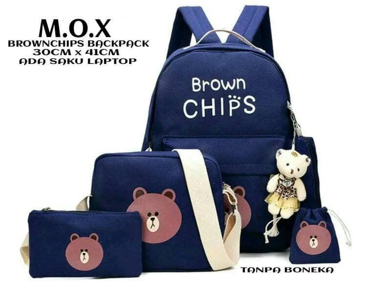 Jual PROMO Tas Ransel Punggung Sekolah Anak / Wanita Brown Chips 4in1 Navy Promo