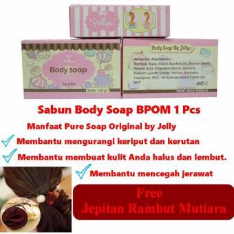 Cheapest Price Pure Soap by Jellys - Sabun Pemutih Muka Dan Badan - 100 gr Free Jepitan Rambut Mutiara sale - Hanya Rp17.057