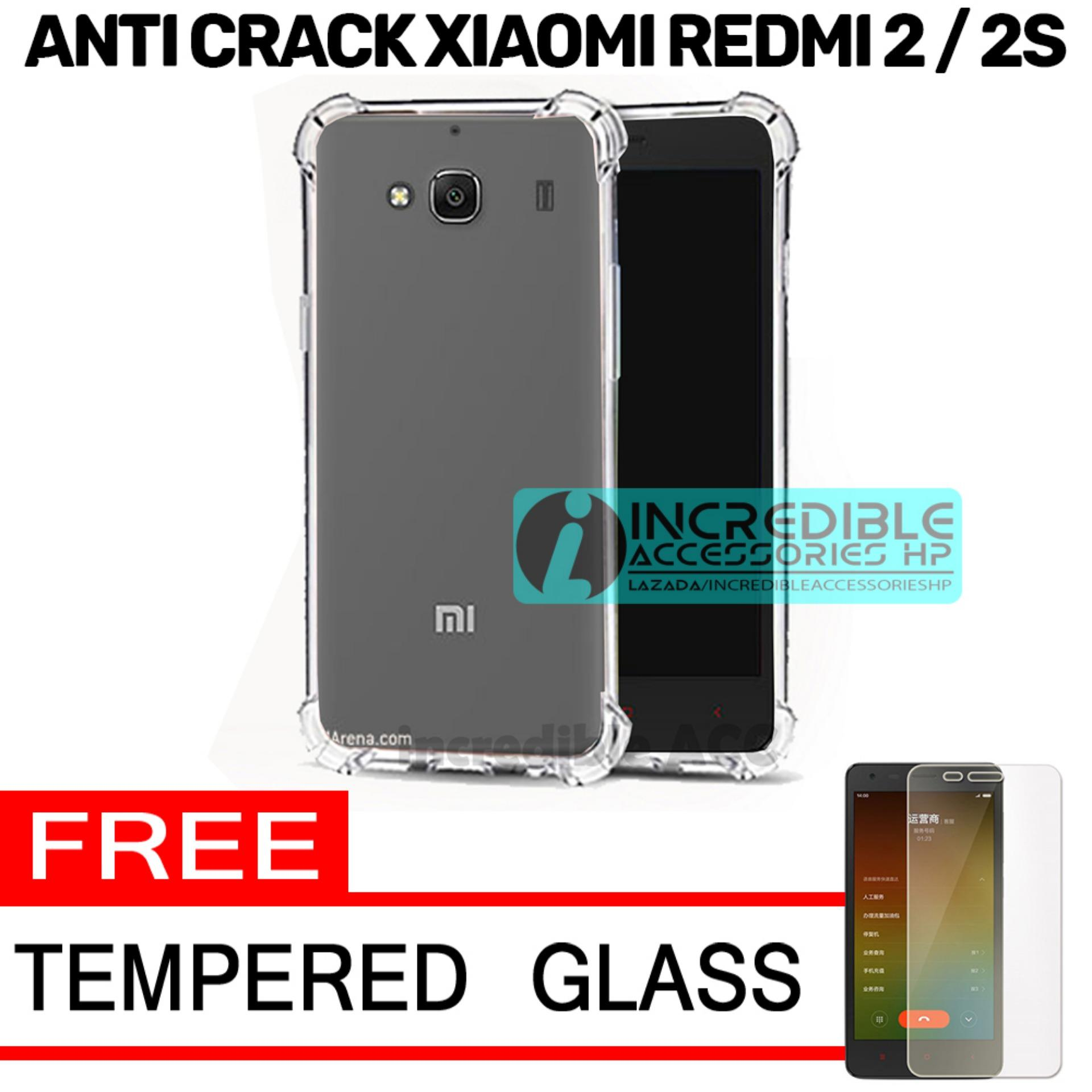 Case Anti Shock / Anti Crack Elegant Softcase  for Xiaomi Redmi 2 / Xiaomi Redmi 2 Prime - White Clear + Free Tempered Glass