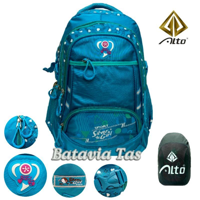 Batavia Tas Ransel Backpack Alto Beautiful Spring Sekolah / Kuliah Deep Blue + Waterproof Raincover
