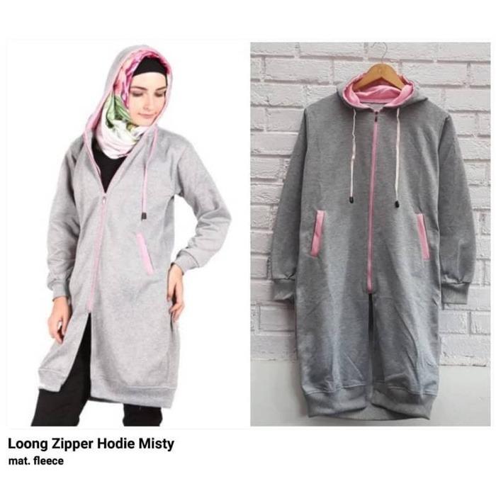 KEI'S jaket sweater wanita long hodie zipper misty fashion hijab termurah
