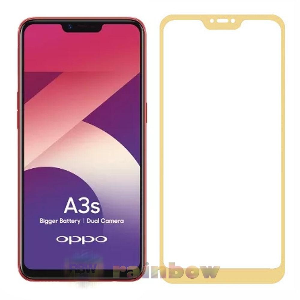 Rainbow Tempered Glass Oppo A3s Full Screen Protector Oppo A3S Emas Temper Oppo A3s / Tempered Oppo A3s Tempered Full Screen Oppo A3s / Tempered Full Layar / Pelindung Layar Hp / Anti Gores Kaca / Temper Glass Oppo A3s - Gold