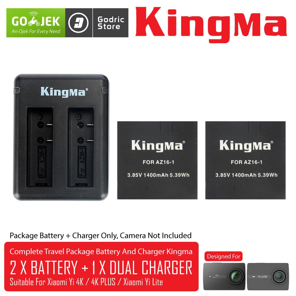 KingMa Paket Complete Battery Charger Set (2 Baterai + 1 Charger) for Xiaomi Yi