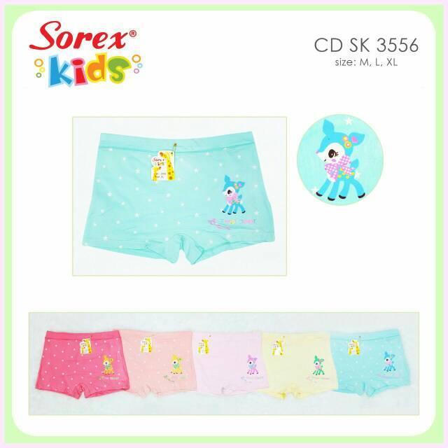 Celana dalam boxer anak perempuan sorex kids 3556 (6pcs) Variasi L