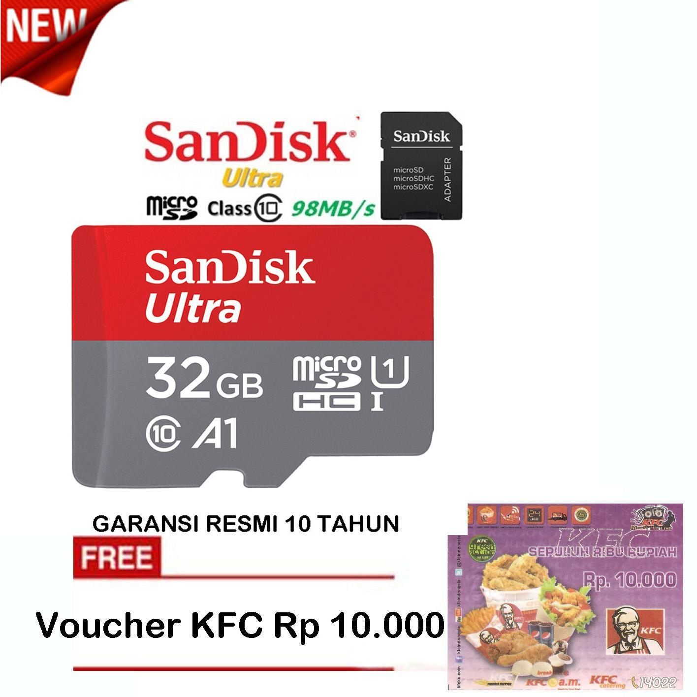 SanDisk Ultra MicroSDHC 98MB/s 32GB A1 Class 10 UHS-1 With Micro SDHC - SD Card Adapter - Red-Grey + Voucher KFC
