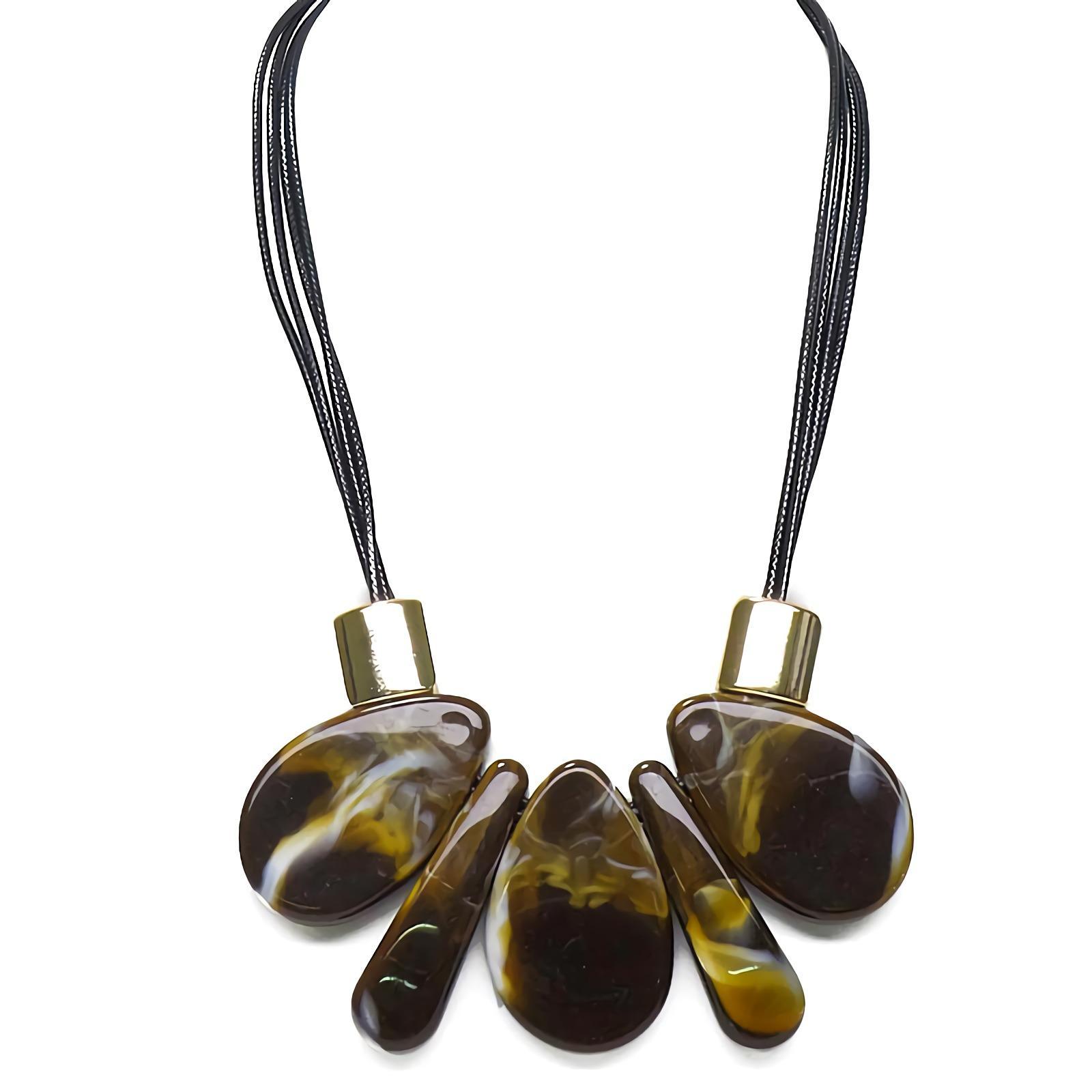 OFASHION Aksesoris Kalung CA-180314-K011 Necklace Fashion Xuping Jewelry Hitam Coklat